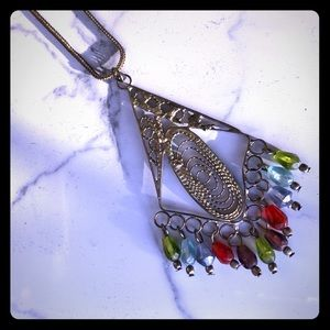 Jewelry - Multi colored metal charm long strand necklace